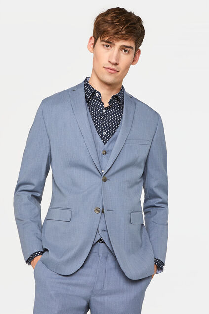 Heren slim fit blazer met stretch, Dali IJsblauw