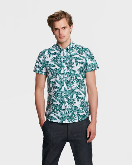 HEREN SLIM FIT PALM PRINT OVERHEMD Mintgroen