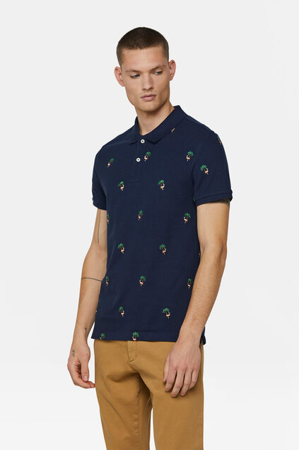 Heren flamingo pique polo Marineblauw
