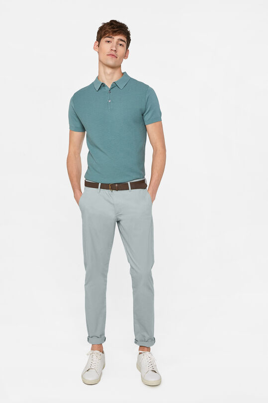 Heren slim fit effen chino Lichtgroen