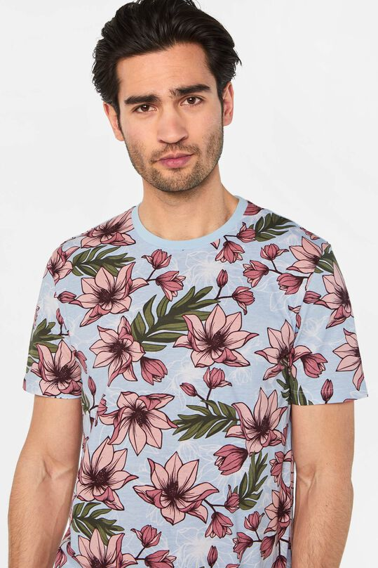 Heren T-shirt met bloemendessin All-over print