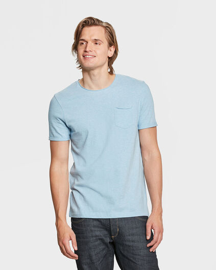 HEREN CHEST POCKET T-SHIRT Lichtblauw