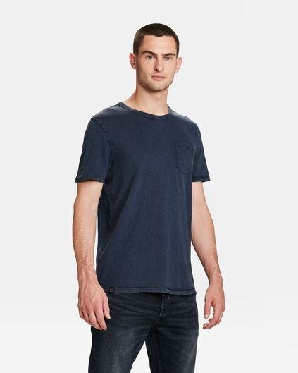 HEREN GARMENT DYED T-SHIRT Donkerblauw