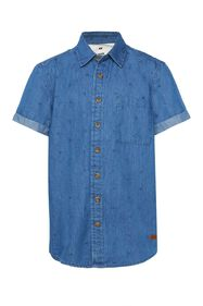 Jongens denim overhemd met dessin_Jongens denim overhemd met dessin, All-over print