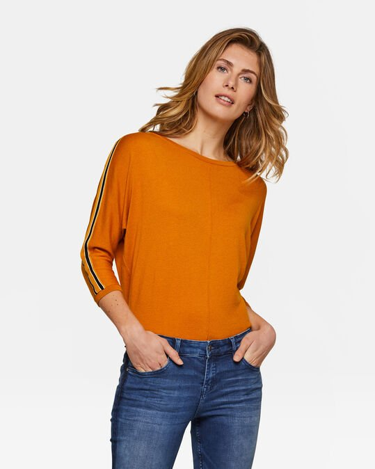 Dames sporty stripe top Geel