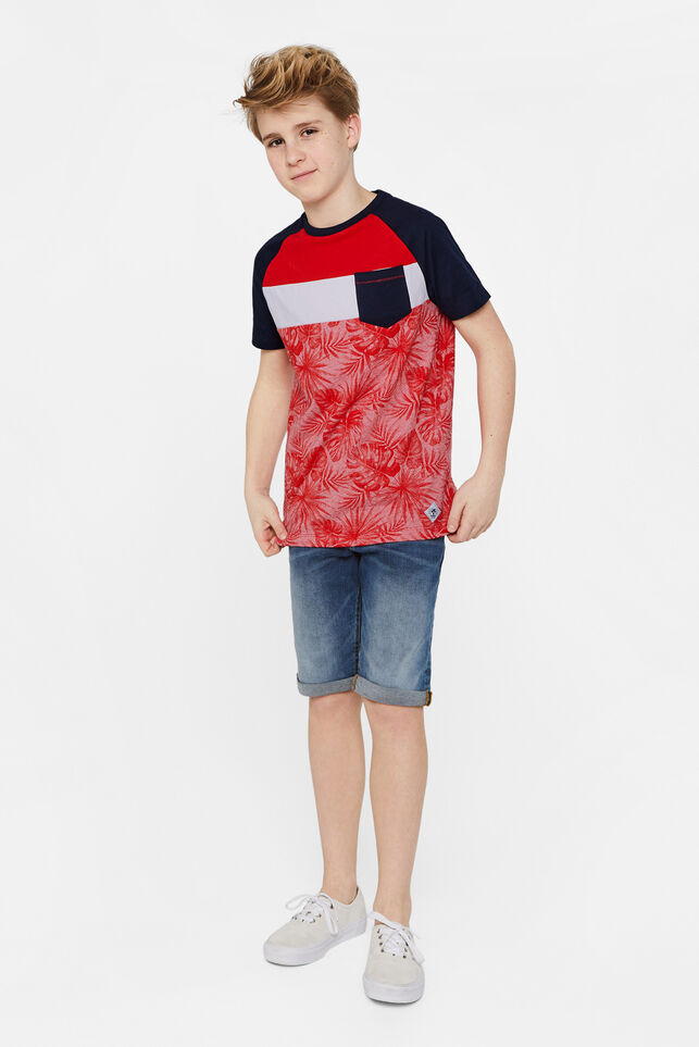 Jongens T-shirt met colourblock Rood