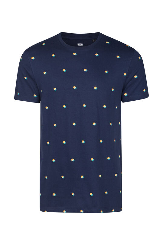 Heren geprint T-shirt Marineblauw