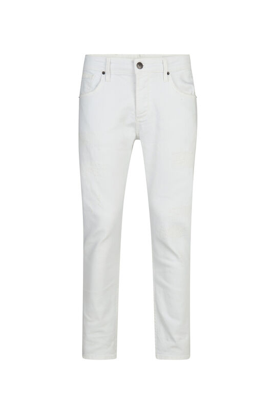 Heren relaxed cropped tapered comfort stretch jeans Wit