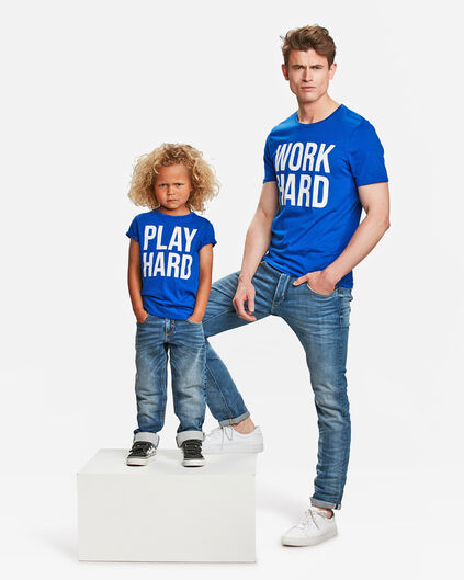 HEREN WORK HARD PRINT T-SHIRT Kobaltblauw