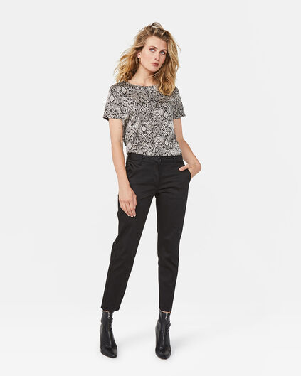 DAMES SLIM CROPPED CHINO Zwart