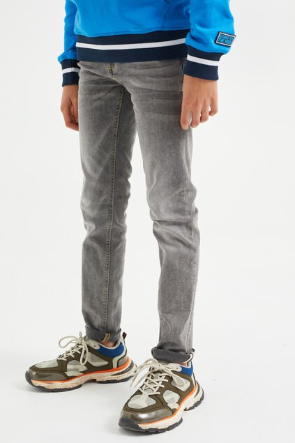 Jongens slim fit jeans met comfort stretch Grijs