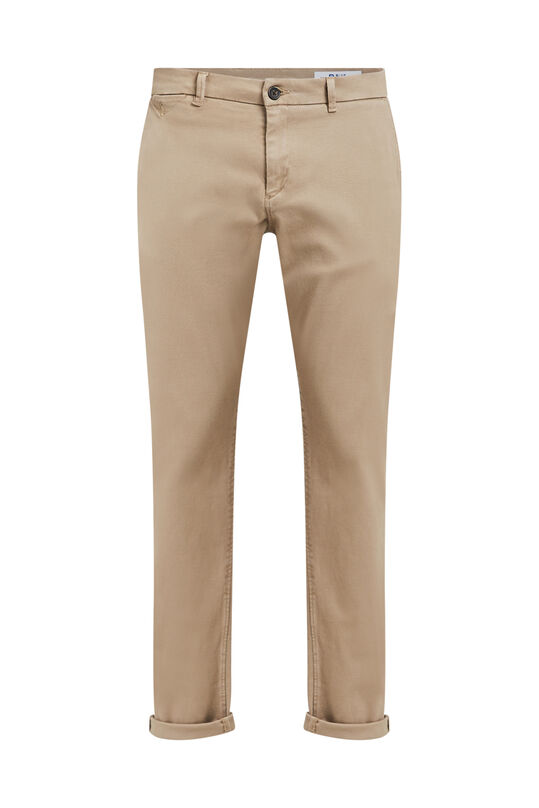 Heren slim tapered chino met ribstructuur Beige