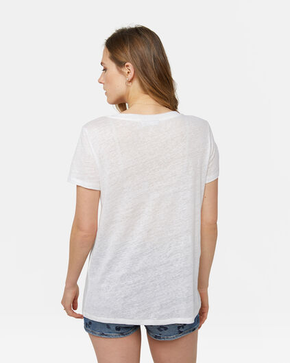 Dames linnen T-shirt Wit
