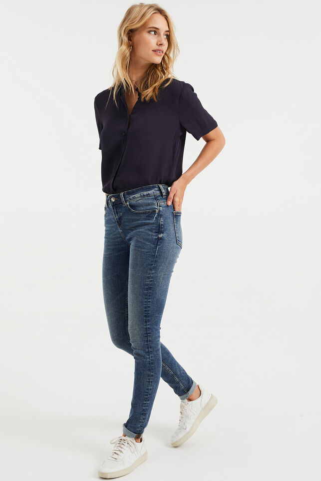 Dames mid rise super skinny jeans met super stretch Donkerblauw