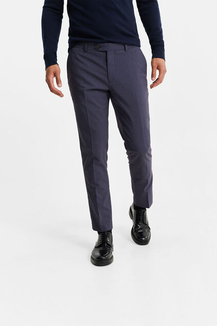 Heren slim fit pantalon met ruitdessin, Wallace Multikleur