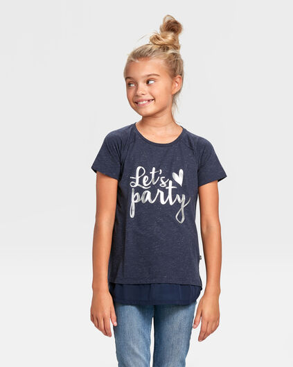 MEISJES PARTY PRINT T-SHIRT Donkerblauw