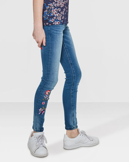 MEISJES SUPER SKINNY SUPER STRETCH EMBROIDERY JEANS Blauw