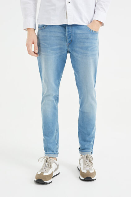 Heren skinny fit jog denim jeans Blauw