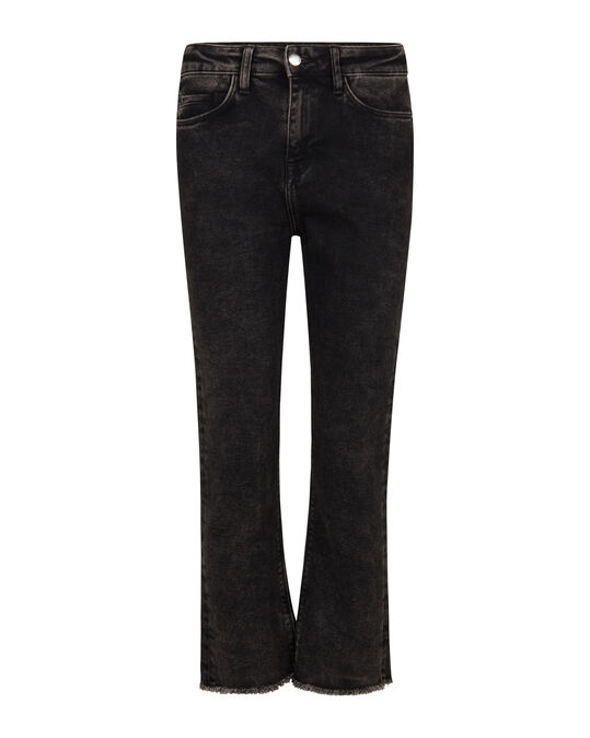 DAMES HIGH RISE COMFORT STRETCH KICK FLARE CROPPED JEANS Zwart