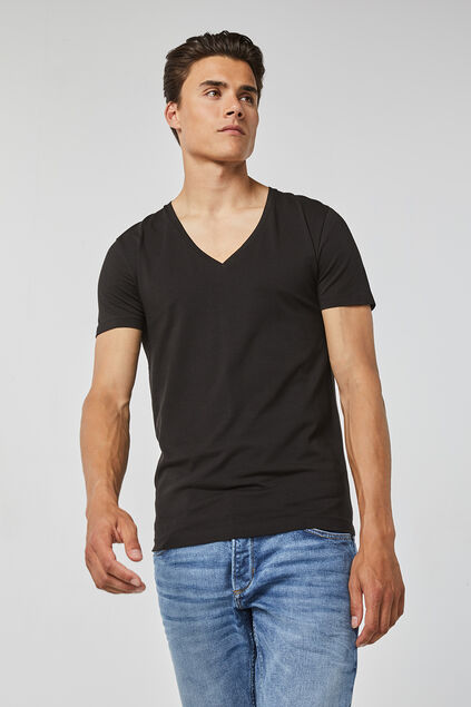 HEREN DEEP V-NECK T-SHIRT Zwart