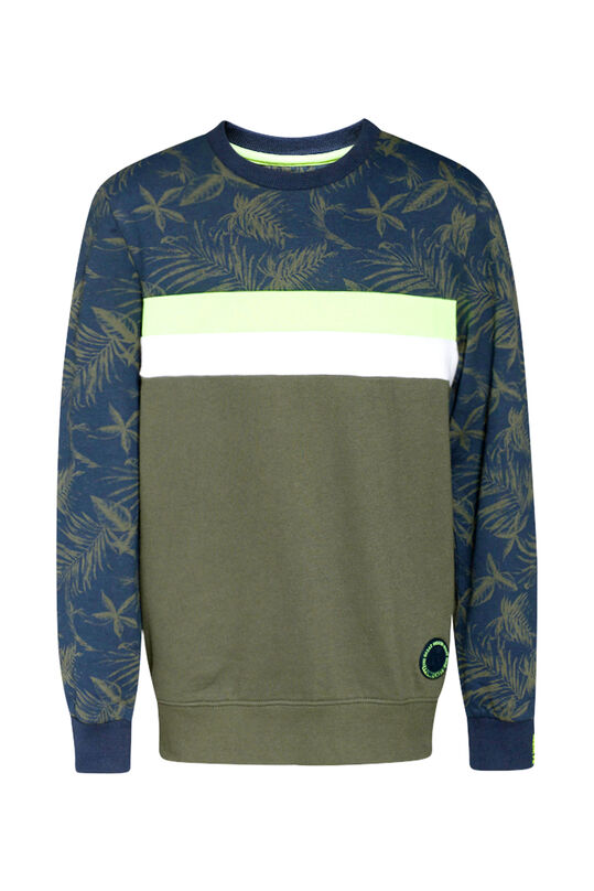 Jongens neon detail sweater Legergroen