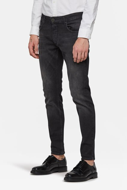 Heren skinny fit comfort stretch jeans Zwart