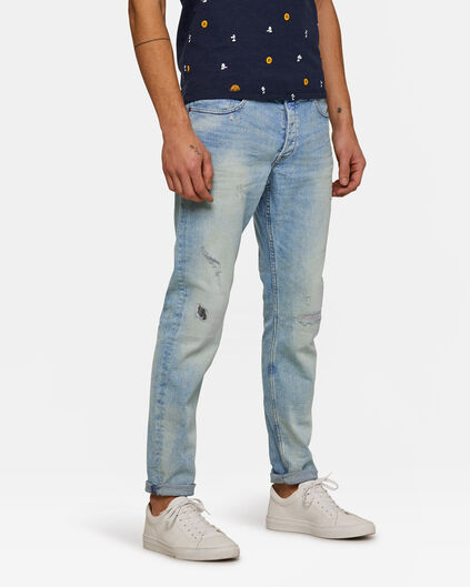 Heren skinny tapered comfort stretch jeans Lichtblauw