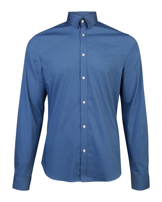 Heren slim fit stretch overhemd Blauw