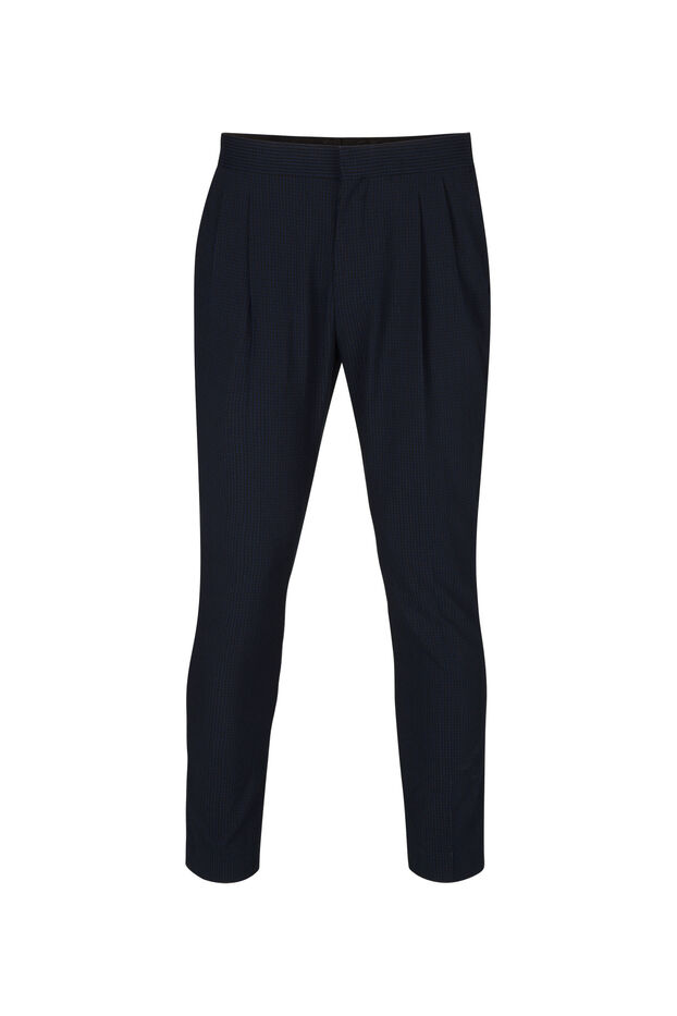 Heren Loose Fit seersucker Pantalon Ichi Blauw