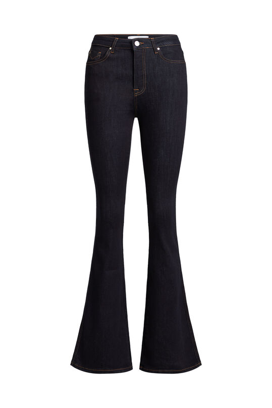 Dames high raised flared jeans met stretch Donkerblauw