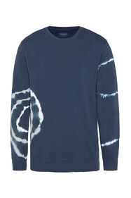 Heren sweater met tie-dyeprint_Heren sweater met tie-dyeprint, Donkerblauw