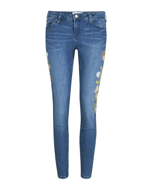 DAMES MID RISE SKINNY FIT HIGH STRETCH CROPPED FLOWER EMBROIDEY JEANS Blauw