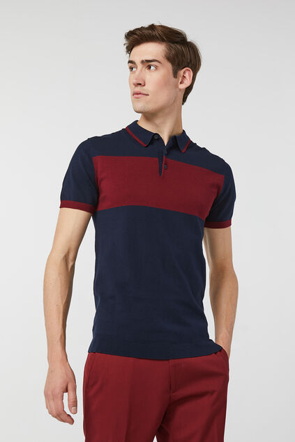 Heren gebreide colourblock polo Marineblauw