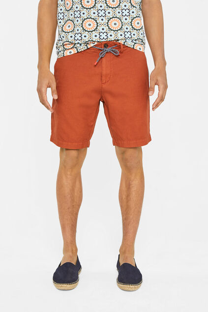 Heren regular fit chinoshort van linnen Roestbruin