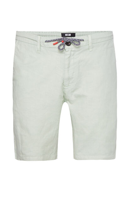 Heren regular fit chinoshort van linnenmix Mintgroen