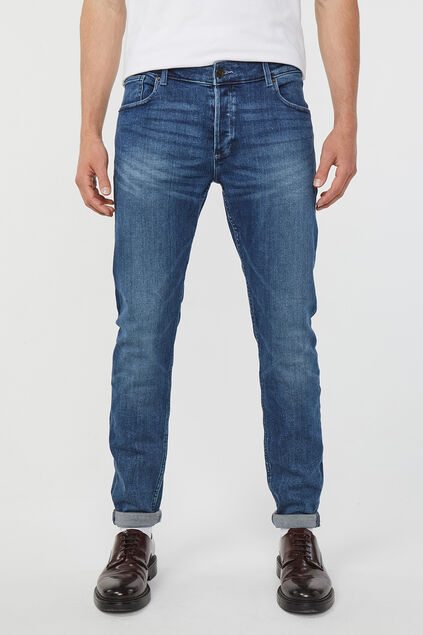 Heren skinny tapered jog denim jeans Blauw