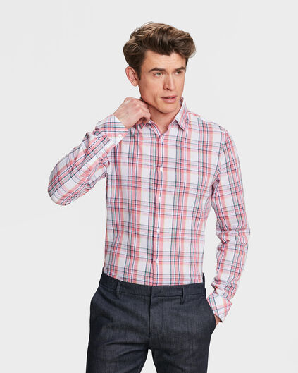 HEREN SLIM FIT CHECKED OVERHEMD Lichtroze