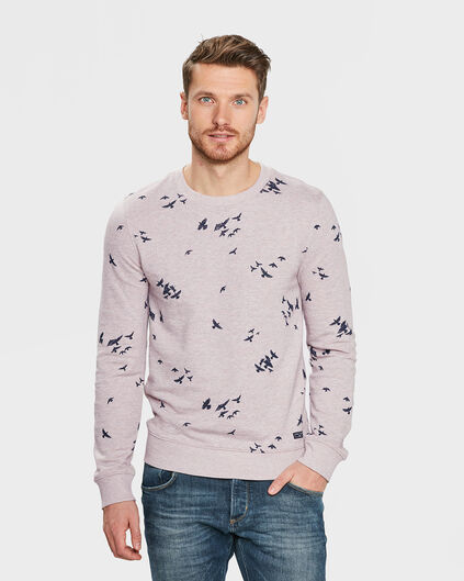 HEREN MELANGE BIRD PRINT SWEATER Roze