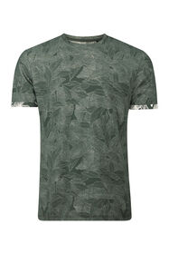 Heren bladprint T-shirt_Heren bladprint T-shirt, Legergroen
