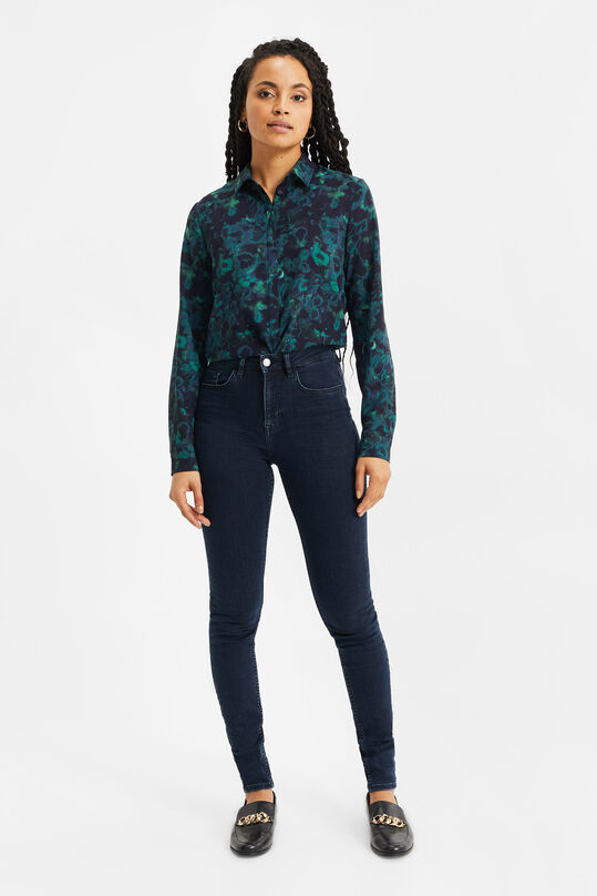 Dames high rise skinny jeans met comfort stretch Donkerblauw