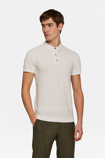 Heren structuur knit polo Wit
