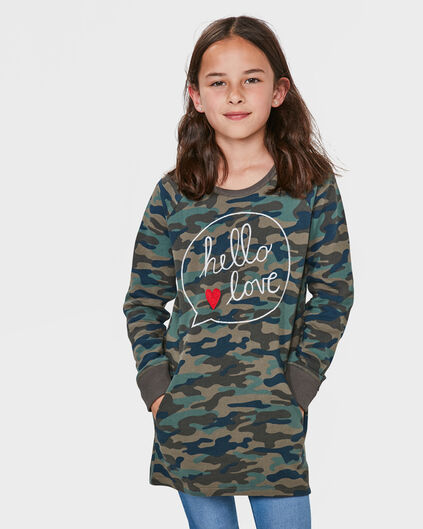 MEISJES CAMOUFLAGE SWEATER DRESS Groen