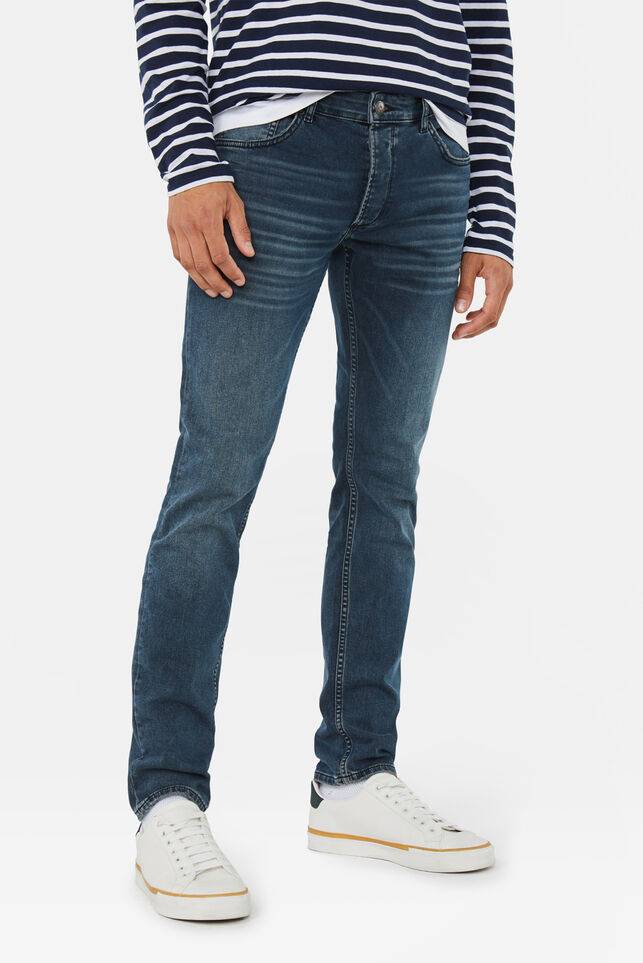 Heren slim tapered stretch jeans Grijsblauw