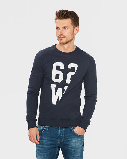 HEREN NUMBER SWEATER Marineblauw