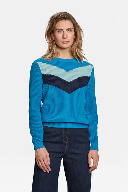 DAMES COLORBLOCK TRUI Felblauw
