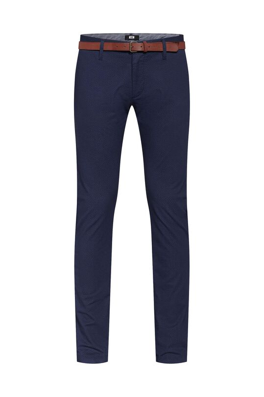 Heren skinny fit chino met print Marineblauw