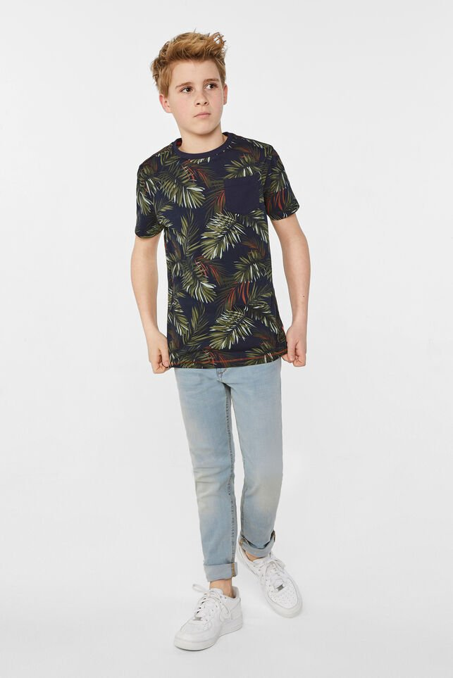 Jongens T-shirt met bladerendessin All-over print
