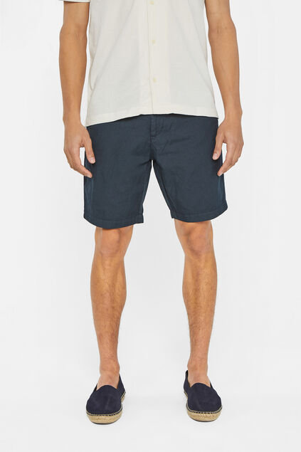 Heren regular fit chinoshort van linnenmix Marineblauw