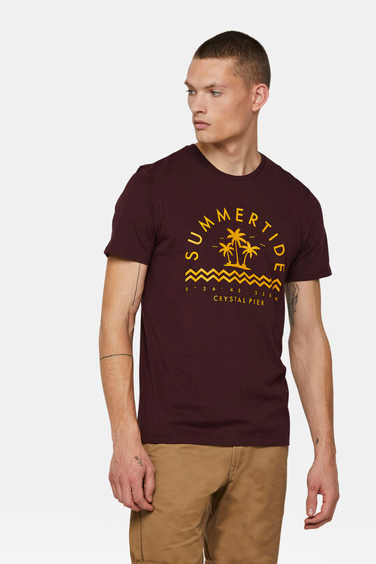 Heren summertide print T-shirt Bordeauxrood