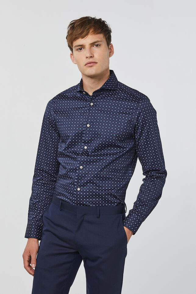 Heren slim fit overhemd Donkerblauw